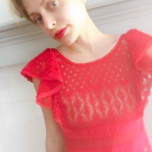 BCBG Dresses - DESIGNER BCBG Designer Hot Pink Lace Mini Dress